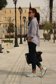 street style, casual, denim, metallic madness, sneakers, sneakers outfit, Athens, Greece, spring outfit, leather, metallic shoes, Air Max, Air Max day, happy Air Max day, blogger, style, spring style, fashion, @thatgirlju