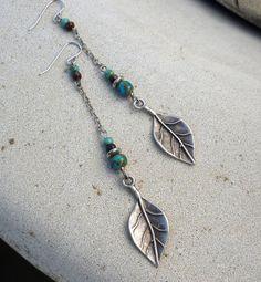 Dangle Earrings - Long, Silver, Turquoise Blue, Leaf, Tribal, Rustic, South Western, Bohemian