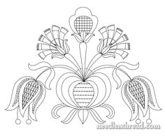 Free Printable Vintage Embroidery Patterns | Free Hand Embroidery Pattern: Tulips & Carnations – Needle'nThread ...