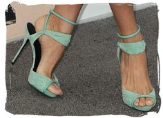 I am LOVING these Pierre Hardy Sandals- made in peach too, the green were a sample and given to Eva Mendes... and rightfully so!  they look fabulous on her. I wonder if she'll let me borrow them if I invite her to the wedding... think it's worth a shot?