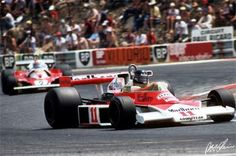 James Hunt driving to win the 1976 French Grand Prix at Paul Ricard driving his McLaren-Ford