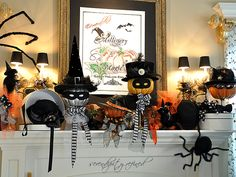 Fox Hollow Cottage: Twenty Halloween Mantel {and more} Decorating Ideas!