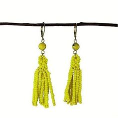 Lemon Tassel Drop Earrings Handmade and Fair Trade. Earrings feature vivid seed beads in opaque glass that dangle from a larger round bead. Measures 2.5 inches long, with hinged easel back - they will brighten up neutrals and add a gorgeous pop of color!