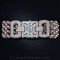 Art Deco Diamond and Pearl Bracelet with Carat Center Diamond - Vintage Jewelry Metal Jewelry, Antique Jewelry, Vintage Jewelry, Vintage Pearls, Silver Jewelry, Jewelry Sites, Jewelry Shop, Handmade Jewelry, Jewellery