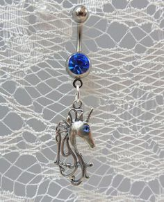 Short bar belly button ring, belly ring with unicorn, naval ring with sterling silver unicorn with light sapphire Swarovski crystal eye - 14ga