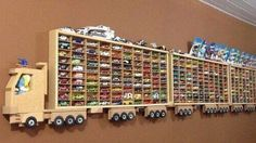 16 Ideas diy baby boy room wall decor toy storage for 2019 Hot Wheels Storage, Hot Wheels Display, Kid Toy Storage, Storage Ideas, Truck Storage, Wooden Truck, Toy Organization, Bedroom Organization, Organizing