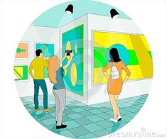 Round illustration of people in art museum of abstract painting
