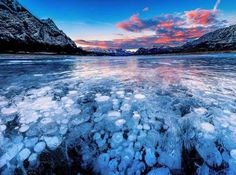 Abraham Lake, Canada:     Abraham Lake is an artificial lake on North Saskatchewan River in western Alberta, Canada. The underwater formations are actually frozen bubbles of flammable methane gas trapped in the icy manmade lake.
