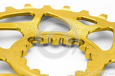 Golden oval chainring detail, close up