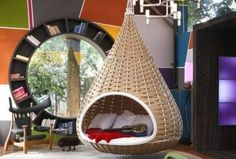 """A nondescript house was renovated to create """"Cabana Urbana"""", a vibrant weekend retreat in São Paulo, Brazil with a 914 sq ft studio pl. Cabana Urbana, Shabby Chic Zimmer, Hanging Beds, Hanging Basket, Hanging Chairs, Diy Hanging, Indoor Swing, Indoor Hammock, Bookshelf Design"""