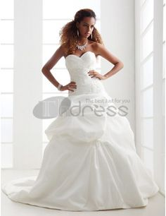 Strapless Sweetheart Taffeta Pick-up Wedding Dresses