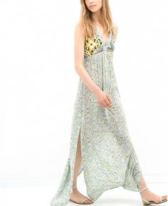 Side slits make this dress EXTRA breezy // Zara Combined Maxi Dress