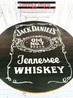 Traceys Fancy - Fancied Up and Funkified Furnishings - Hand-painted Funky Folk Art Painted Furniture - Jack Daniels Whiskey & Less Talkie more Coffee Coffee Table
