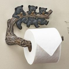 Bear Necessities Toilet Paper Holder - A Black Forest Décor Exclusive - Three little bears on a limb help keep bath tissue in its place on this wall-mount polyresin holder. Black Bear Decor, Black Forest Decor, Cabin Bathrooms, Rustic Bathrooms, Lodge Bathroom, Log Furniture, Cardboard Furniture, Furniture Design, Lodge Decor