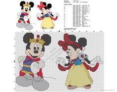 Disney Topolino e Minnie come Biancaneve schema punto croce gratis
