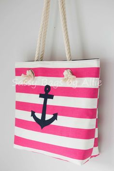 Pink Nautical Tote with Navy Blue Anchor-Large by allisonblaylock