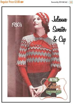 ON SALE 1930s Jumper and Sports Cap Vintage Knitting Pattern- PDF  Instant Download