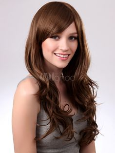 Casual Brown Synthetic Full-Volume Curls Women's Long Wig - Milanoo.com