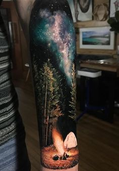 half sleeve tattoo designs and meanings Forest Tattoo Sleeve, Space Tattoo Sleeve, Nature Tattoo Sleeve, Tattoo Sleeve Designs, Sleeve Tattoos, Galaxy Tattoo Sleeve, Tattoo Nature, Sky Tattoos, Forest Tattoos
