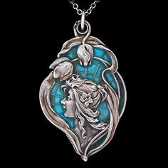 Art Nouveau silver and blue pendant/locket opens to revel a mirror Meyle &…
