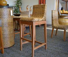 ABACA BARSTOOL Wicker Barstool Rattan Abaca Furniture Teak Abaca Bar Chair