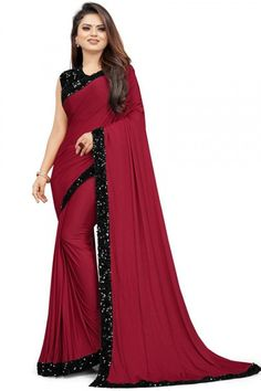 Maroon shimmer georgette saree with black georgette blouse. Embellished with sequins work. Saree with Round Neck, Sleeveless. It comes with unstitch blouse, it can be stitched to 32 to 58 sizes. #saree #uk #georgettesaree #andaazfashion