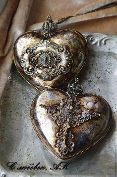 """Купить Трио """"В самое сердце"""".Набор елочных украшений. - серый, старое золото, эксклюзив"""