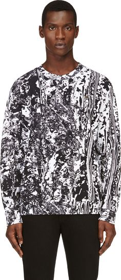 McQ Alexander Mcqueen - Black & White Marbled Sweatshirt --- Up here is Alexander McQueen and below here is everyone else. All us basic bitches can back off.