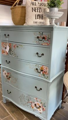 Beautiful Painted Furniture Gorgeous chest painted in Fusion Mineral Paint's newest color, French Eggshell, with a Redesign by Prima Transfer added. Shop for all of your painting supplies at Lost & Found's Online Shop! Painting Laminate Furniture, Decoupage Furniture, Chalk Paint Furniture, Refurbished Furniture, Repurposed Furniture, Shabby Chic Furniture, Furniture Projects, Cool Furniture, Furniture Design