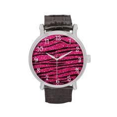 Hot pink glitter zebra stripes watches