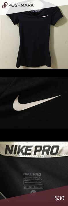 Black Short Sleeve V-Neck Nike Pro Shirt Black Short Sleeve V-Neck Nike Pro Shirt. This shirt is a nike pro shirt with short sleeves and a v-neck. This material does not show any sweat and keeps you dry when working out. Nike Tops Tees - Short Sleeve