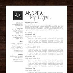 resume template cv template word for mac or pc professional cover letter creative modern black initials the andrea - Contemporary Resume Templates