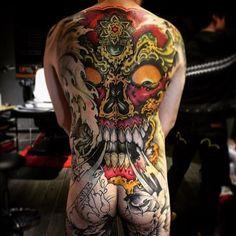 Artist: @guanxiaopeng - Follow for more or visit inklocations.com - #getinked #inklocations #tattoo #ink #inked #tattoos #art #tattooed #color #colorful #black #grey #blackandgrey #tattoist #design #instaart #sleevetattoo #handtattoo #chesttattoo #tatted #instatattoo #bodyart #amazingink #tattedup #tattooartworldwide #bodysuit #japanese Mens Body Tattoos, Skull Tattoos, Sexy Tattoos, Body Art Tattoos, Hand Tattoos, Sleeve Tattoos, Tattoo Skin, Tattoo Life, Define Tattoo