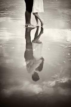 Black and White beach reflection save the date/engagement photo. via Charleston Weddings Blog
