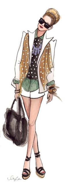 Girl's got style. Illustration by Inslee Haynes. Arte Fashion, Moda Fashion, Fashion Models, Ideias Fashion, Fashion Trends, Fashion Illustration Sketches, Fashion Design Sketches, Art And Illustration, Fashion Drawings