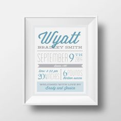 Just bought one of these for our daughter! I'm going to frame it and put it in the family room, surrounded by photos of her! I plan to do the same for any future babies we have! Custom baby announcement wall art baby name art by PromisingPrints
