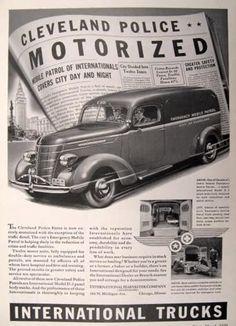 vintage trucks | ... Truck Ad ~ Cleveland Police Car, Emergency Patrol, Vintage Truck & Bus