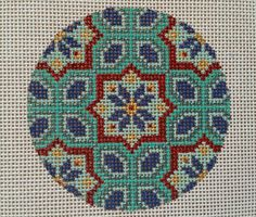 Beautiful Hand Painted HP Round Ornament Needlepoint Canvas 18 mesh Geometric  #Unbranded