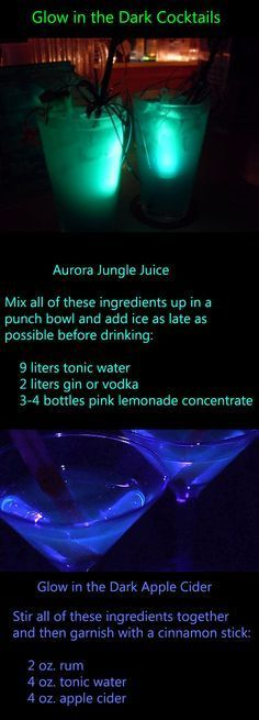 RECIPE: Glow-in-the-Dark Cocktails. There's always something so cool about turning off the normal lights, turning on a black light and watching things in the room start to glow But how do you get your cocktails to glow? , they're completely safe to drink. Party Drinks, Cocktail Drinks, Fun Drinks, Beverages, Birthday Party Decorations For Adults, Halloween Party Decor, Spicy Candy, Alien Party, Jungle Juice