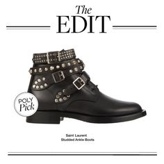"""The Edit: Saint Laurent Studded Ankle Boots"" by polyvore-editorial ❤ liked on Polyvore featuring Yves Saint Laurent, women's clothing, women, female, woman, misses, juniors and theedit"