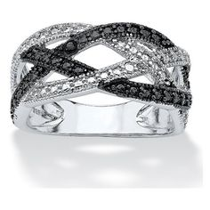 PalmBeach Jewelry Black Diamond Accent Pave Crossover Ring in .925... ($60) ❤ liked on Polyvore featuring jewelry, rings, black, two tone ring, pave jewelry, two tone jewelry, braid jewelry and 2 tone rings
