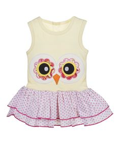 It's easy to see that this sweet dress will take flight on any little babe. With the big appliqué in front, ruffle skirt and pullover design, getting cuties situated in its comfy embrace is simple.Fits newborns to age 6 monthsCottonMachine washImported