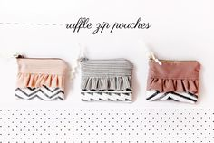 ruffle zipper pouch with geometric stitching tutorial - see kate sew
