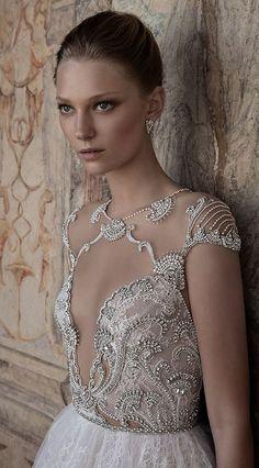 jewel beaded cut out bodice wedding dress via alon livne