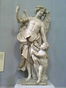 """The """"Guardian Angel"""" by Domenico Antonio Vaccaro (before in San Paolo Maggiore Church in Naples Baroque Sculpture, Angel Sculpture, Roman Sculpture, Stone Sculpture, Wooden Chair Plans, Alabaster Stone, Sacred Art, Christmas Carol, Famous Artists"""