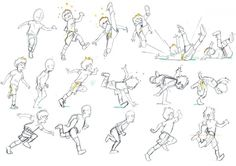 Dessins courir et tomber par terre en animation !