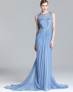 Tadashi Shoji Beaded Sequin Gown - Sleeveless Lace Inset | Bloomingdale's