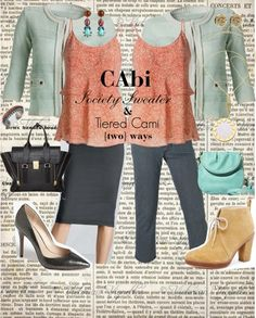 """""""CAbi Society Sweater & Tiered Cami two ways"""" by glitterinthegrey on Polyvore"""