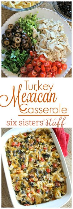 Turkey Mexican Casserole - an easy casserole that is unique and delicious! This Mexican casserole is full of fresh ingredients like cherry tomatoes and green onions and it also has a fun twist - cheese tortellini! Turkey Casserole, Mexican Casserole, Casserole Recipes, Chicken Casserole, Leftover Turkey Recipes, Leftovers Recipes, Dinner Recipes, Turkey Leftovers, Turkey Meals