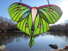 Beautiful hanging stained glass butterfly for on your porch or in a window!